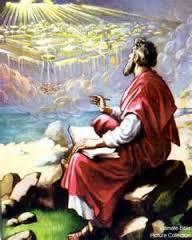 Ảnh minh họa việc thiên sứ mặc khải cho sứ đồ Giăng những gì sẽ xảy đến trong ngày sau rốt, để ông chép lại thành sách Khải Huyền