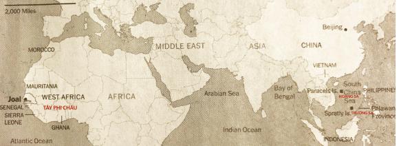 """Hình 3: Với hơn 2,600 tàu cá lớn, Trung Quốc hiện diện cùng khắp: trên Biển Đông, Úc châu, Ấn Độ Dương, Tây Phi châu và Nam Mỹ, họ được mệnh danh là """"Vua của Đại Dương"""" [nguồn: The NYT 04.30.2017]"""